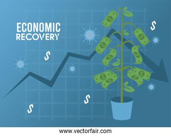 economic recovery for covid19 poster with virus particles and dollars plant in statistics arrow