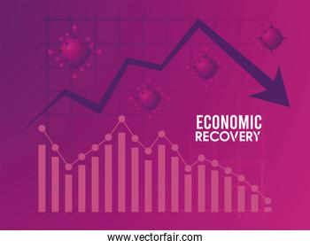 economic recovery for covid19 poster with virus particles and statistics arrow down