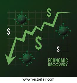 economic recovery for covid19 poster with dollars symbols and virus particles in statistics arrow down