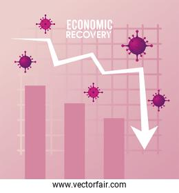 economic recovery for covid19 poster with virus particles in statistics arrow