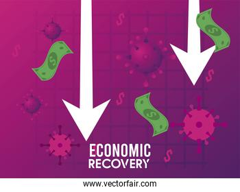economic recovery for covid19 poster with virus particles and bills dollars in arrows down