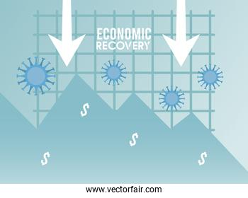 economic recovery for covid19 poster with arrows down and virus particles