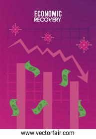 economic recovery for covid19 poster with virus particles and bills dollars money