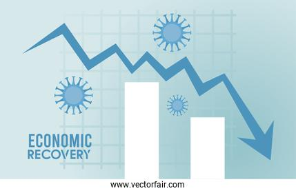 economic recovery for covid19 poster with virus particles in arrow down and bars statistics
