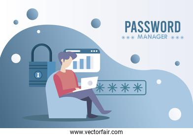 password manager theme with man using laptop and padlock