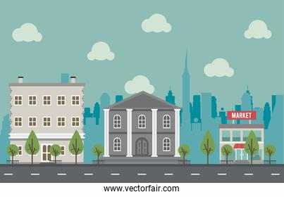 city life megalopolis cityscape scene with governmental building and market