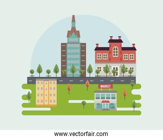 city life megalopolis cityscape scene with market and buildings