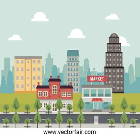 city life megalopolis cityscape scene with market and trees