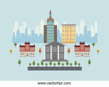 city life megalopolis cityscape scene with governmental building
