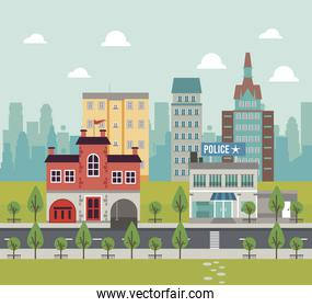 city life megalopolis cityscape scene with police station and buildings