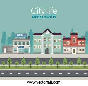 city life megalopolis lettering in cityscape scene with police station and buildings