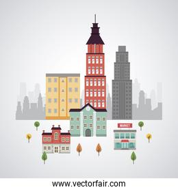 city life megalopolis cityscape scene with buildings and market