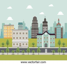 city life megalopolis cityscape scene with road and buildings