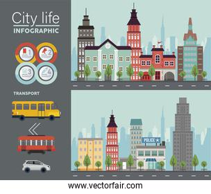 city life megalopolis lettering in cityscapes scenes and vehicles