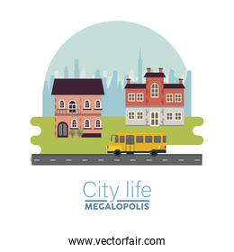 city life megalopolis lettering in cityscape scene with buildings and school bus