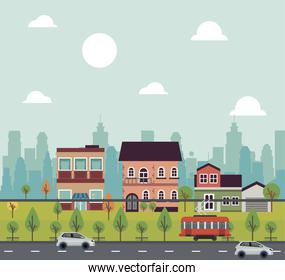 city life megalopolis cityscape scene with buildings and vehicles