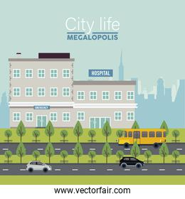 city life megalopolis lettering in cityscape scene with hospital buildings and vehicles