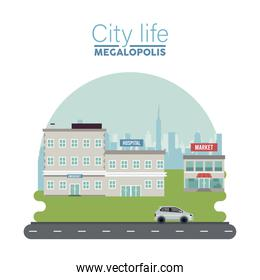 city life megalopolis lettering in cityscape scene with hospital and market