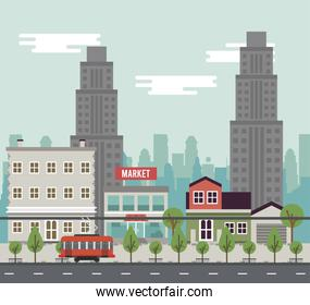 city life megalopolis cityscape scene with buildings and trolley car