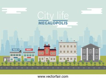 city life megalopolis lettering in cityscape scene with police station and market