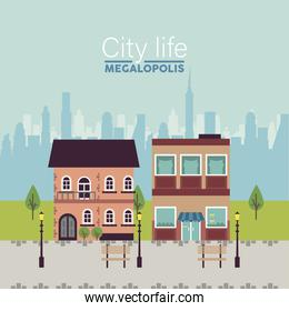 city life megalopolis lettering in cityscape scene with benches and lamps
