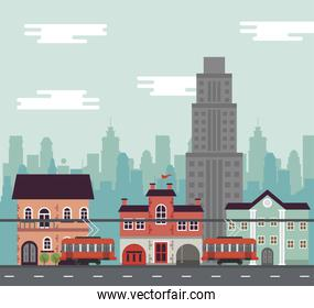city life megalopolis cityscape scene with buildings and trolley cars