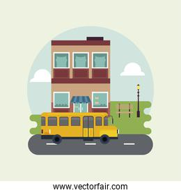 city life megalopolis cityscape scene with building and school bus