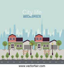 city life megalopolis lettering in cityscape scene buildings and park