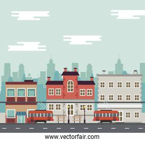 city life megalopolis cityscape scene with trolley cars and buildings
