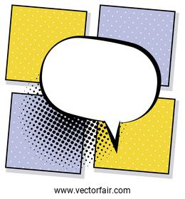 retro speech bubble drawn pop art style in yellow and purple backgrounds