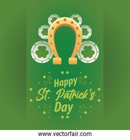 happy saint patricks day lettering with coins treasure and horseshoes