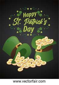 happy saint patricks day lettering with treasure in elf tophats and clovers