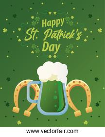 happy saint patricks day lettering with green beer and horseshoes