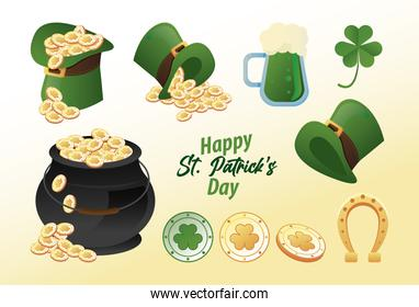 happy saint patricks day lettering with ten   icons