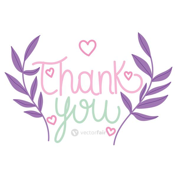 thank you hand drawn text floral hearts decoration
