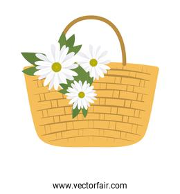 picnic basket with three white flowers