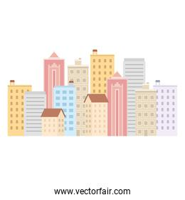 buildings on a white background