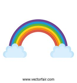 rainbow with two clouds in a white background