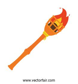 wooden torch icon, colorful design