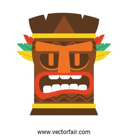colorful wooden tiki mask icon, colorful design