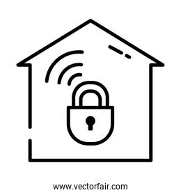 home security concept, house with padlock icon, half line style
