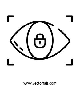 scan eye security symbol icon, half line style