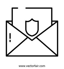 envelope with card with shield icon, half line style