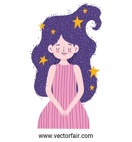 young beautiful woman with stars cartoon