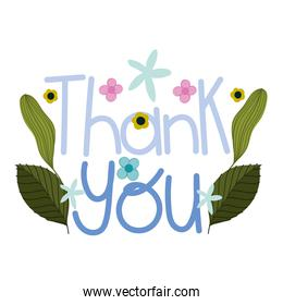 thank you hand drawn text with flowers decoration