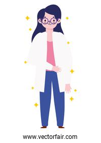female doctor with glasses and coat cartoon