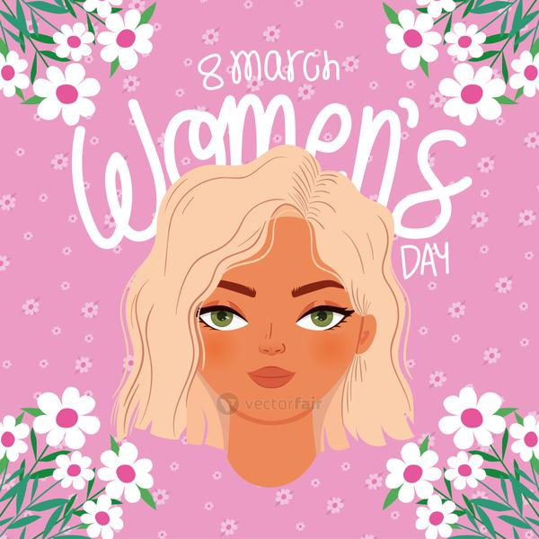 8 march womens day lettering and woman with a blond hair