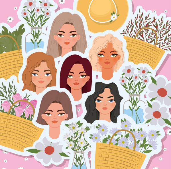 set of 8 march womens day with cute womens heads and basket full with roses