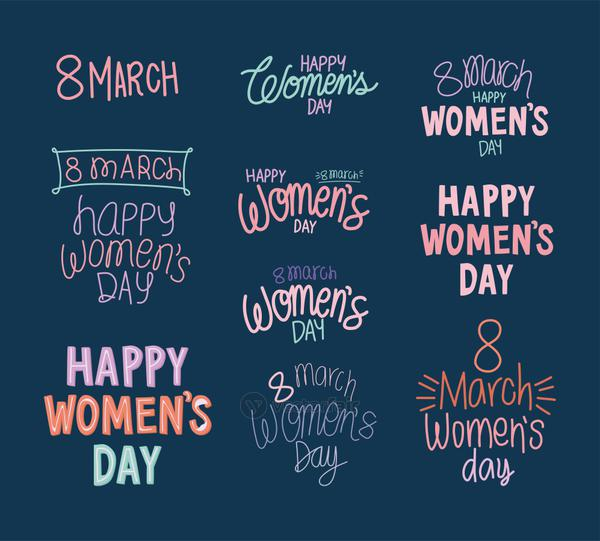 set of 8 march happy womens day letterings