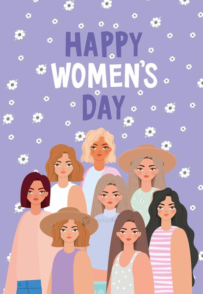 happy womens day lettering and set of beautiful womens